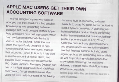 Mac Format even used a pic of the KashFlow crew to support the story from a 10 Yetis press release