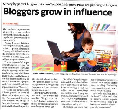 Blogger Outreach Coverage for tots100.co.uk